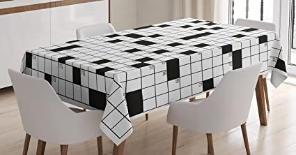 Word Search Puzzle Tablecloth By Ambesonne, Classical Crossword Puzzle With  Black And White Boxes And
