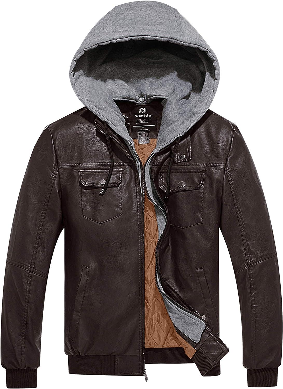 Wantdo Mens Stylish Removable Hood Faux Leather Jacket