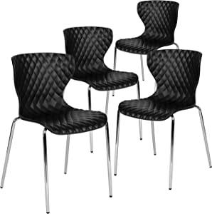 Flash Furniture 4 Pack Lowell Contemporary Design Black Plastic Stack Chair