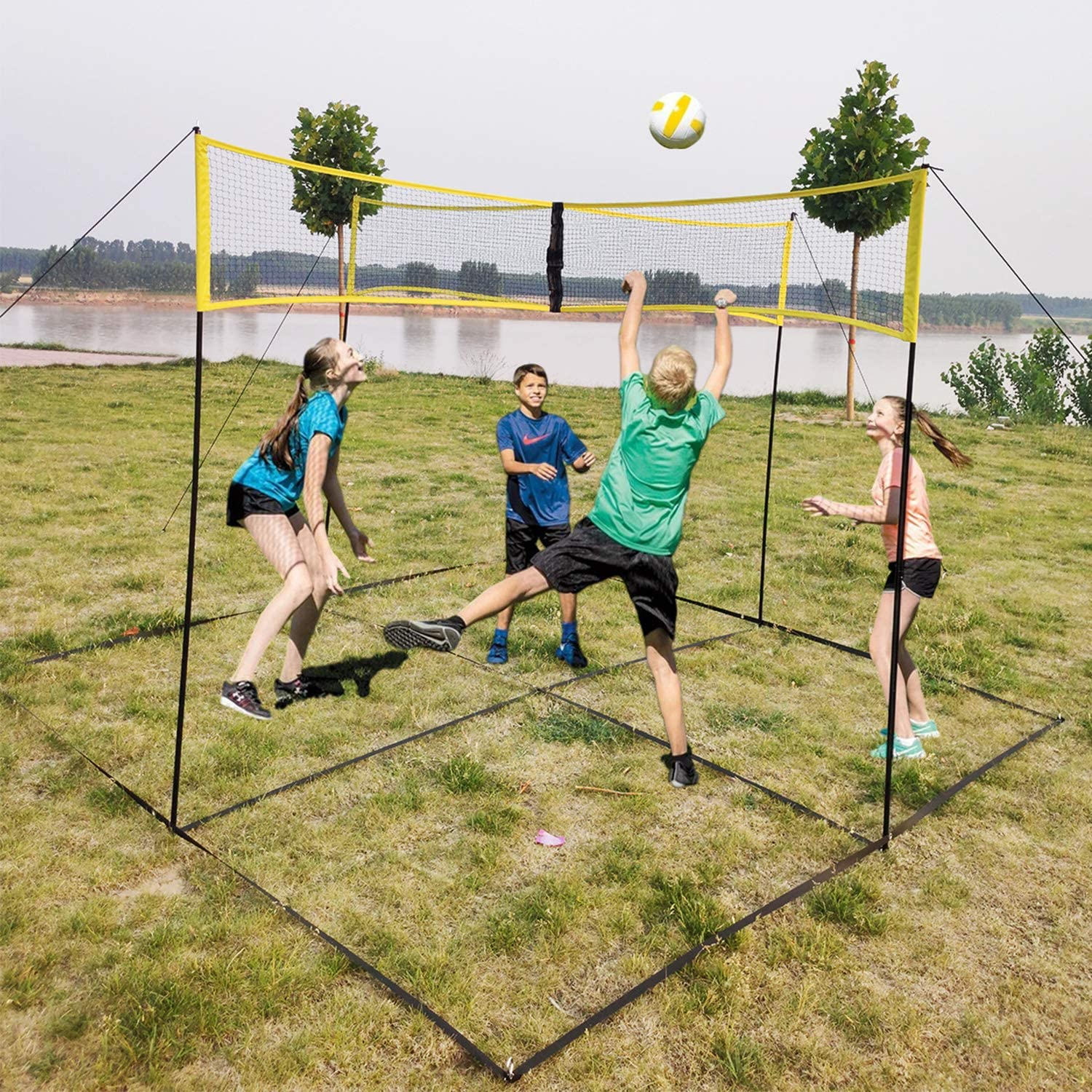 KAC 4-Sided Portable Volleyball Sets Net System Portable Beach Volleyball Net Beach or Standard