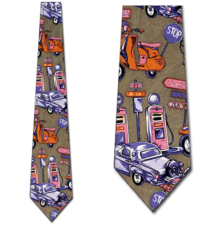 1950s Men's Clothing 1950s Ties Retro Neckties Transportation Tie Mens Neck tie $14.95 AT vintagedancer.com