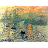 Wieco Art Impression, Sunrise by Claude Monet Famous Oil Paintings Reproduction Modern Framed Giclee Canvas Prints Seascape Artwork Sea Pictures on Canvas Wall Art for Living Room Home Decorations