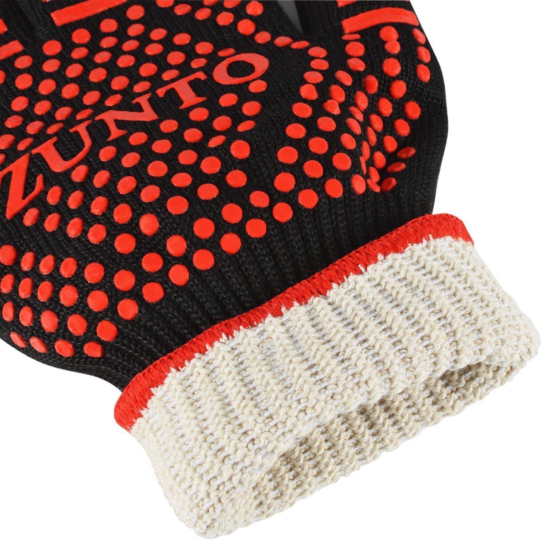 ZUNTO Rot Ofenhandschuhe Grillhandschuhe Extreme Hitzebeständige Handschuhe bis zu 500°C Topfhandschuhe - 1 Paar - Lange Unterarm für zusätzlichen Schutz