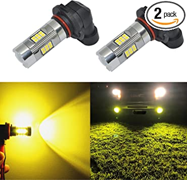 Super Bright Fog Light 3030 w//16 SMD LED Bulbs,High Power Gold//Yellow-3000K Lamps H10 9145 9140 9040 9045 Replacement Pack of 2
