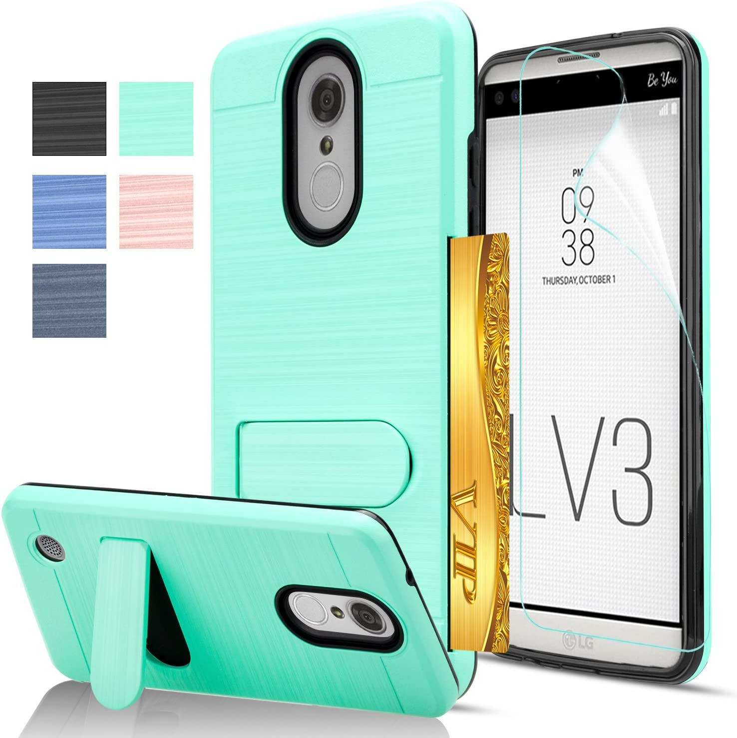 LG Aristo/Phoenix 3 / Fortune / K8 2017 / MS210 / M210 Case with HD Screen Protector,AnoKe [Card Slots Holder][Wallet] Kickstand Hybrid Case for LG LV3 KC1 Mint