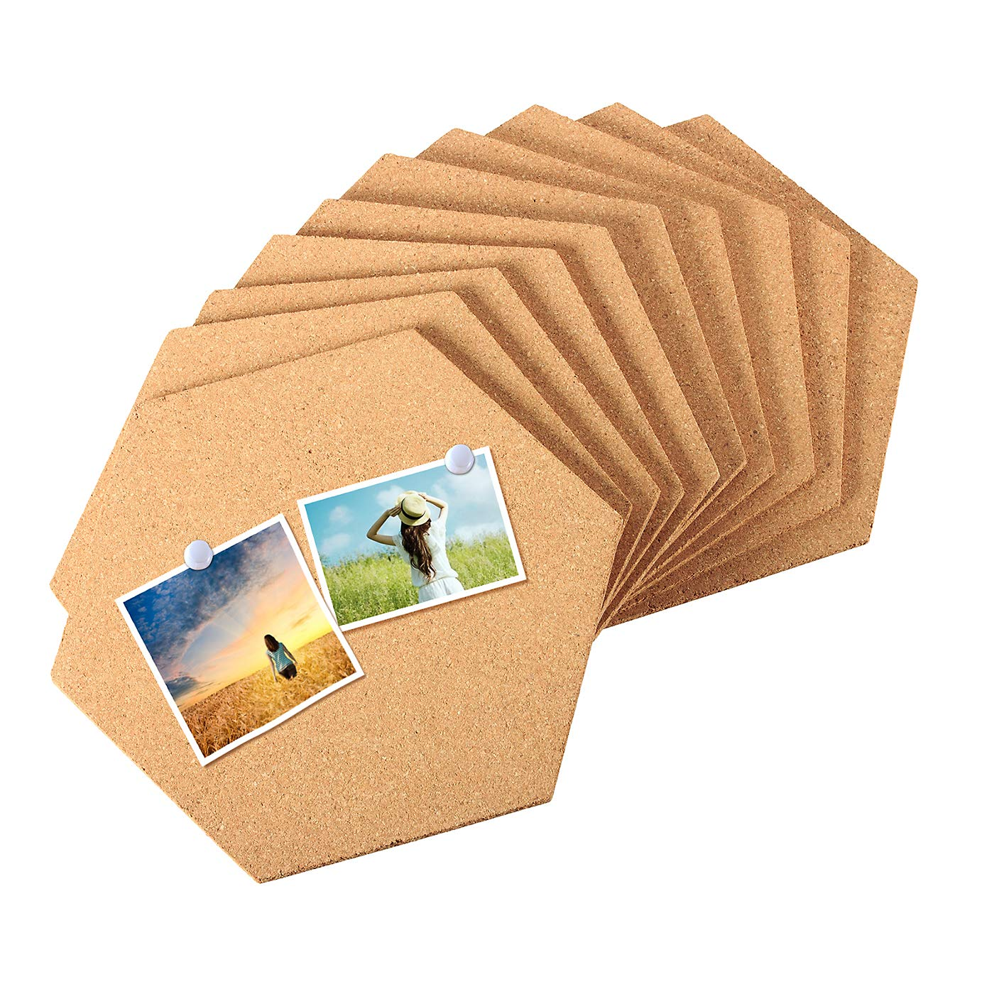 10 Pack Cork Board Tiles Mini Hexagon Wall Bulletin Boards with Full Adhesive with 50pcs Pushpins for Pictures, Photos,Notes,Notes,Drawing and Home Decorations Salare