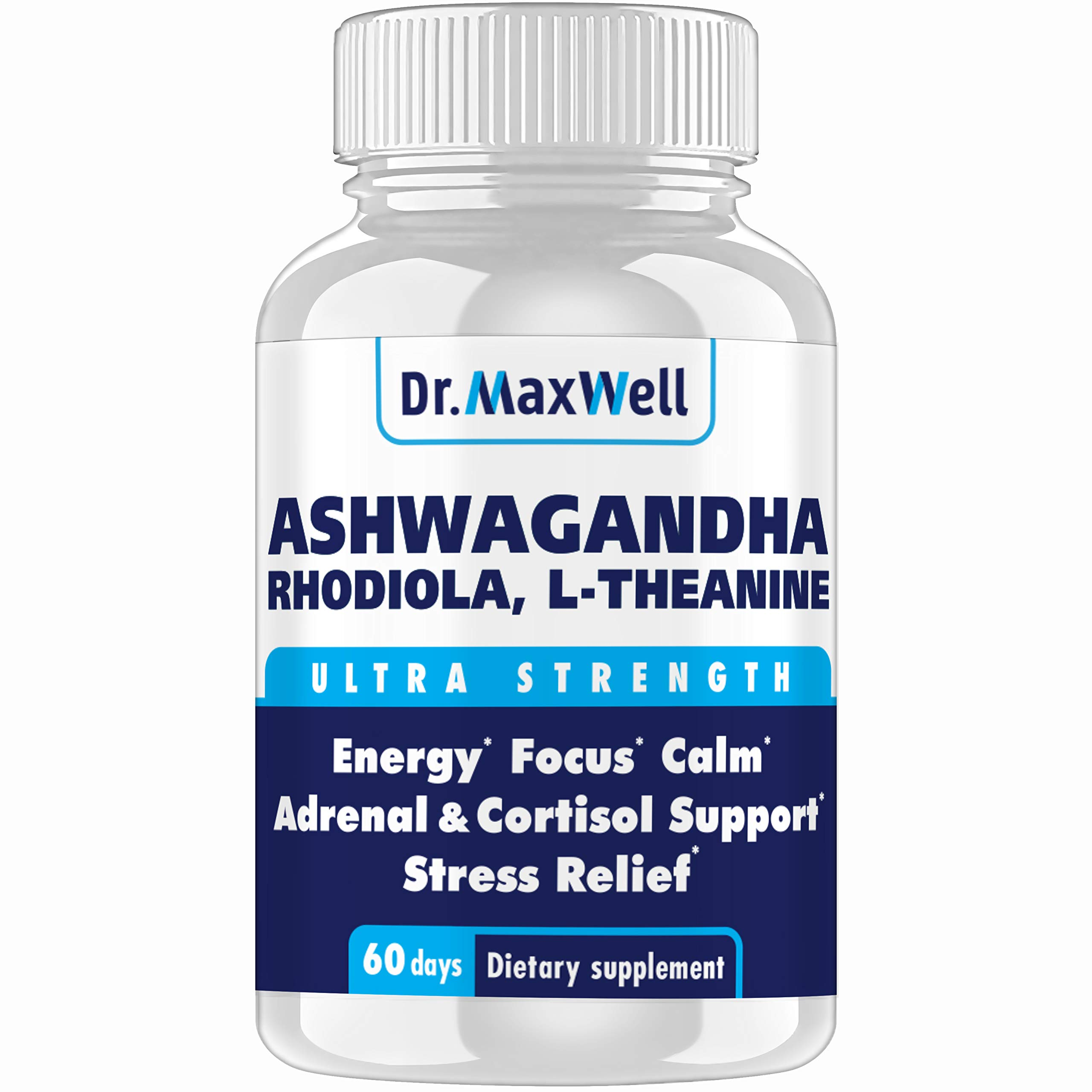 Dr.Maxwell Cortisol Manager, Adrenal, Thyroid Support. Clinically Proven Amounts, 2X More vs. Competitors, 120 Pills, USA, Money Back Guarantee, Adaptogen Stress Relief, Relaxation, Mood. No Fillers by Dr. Maxwell