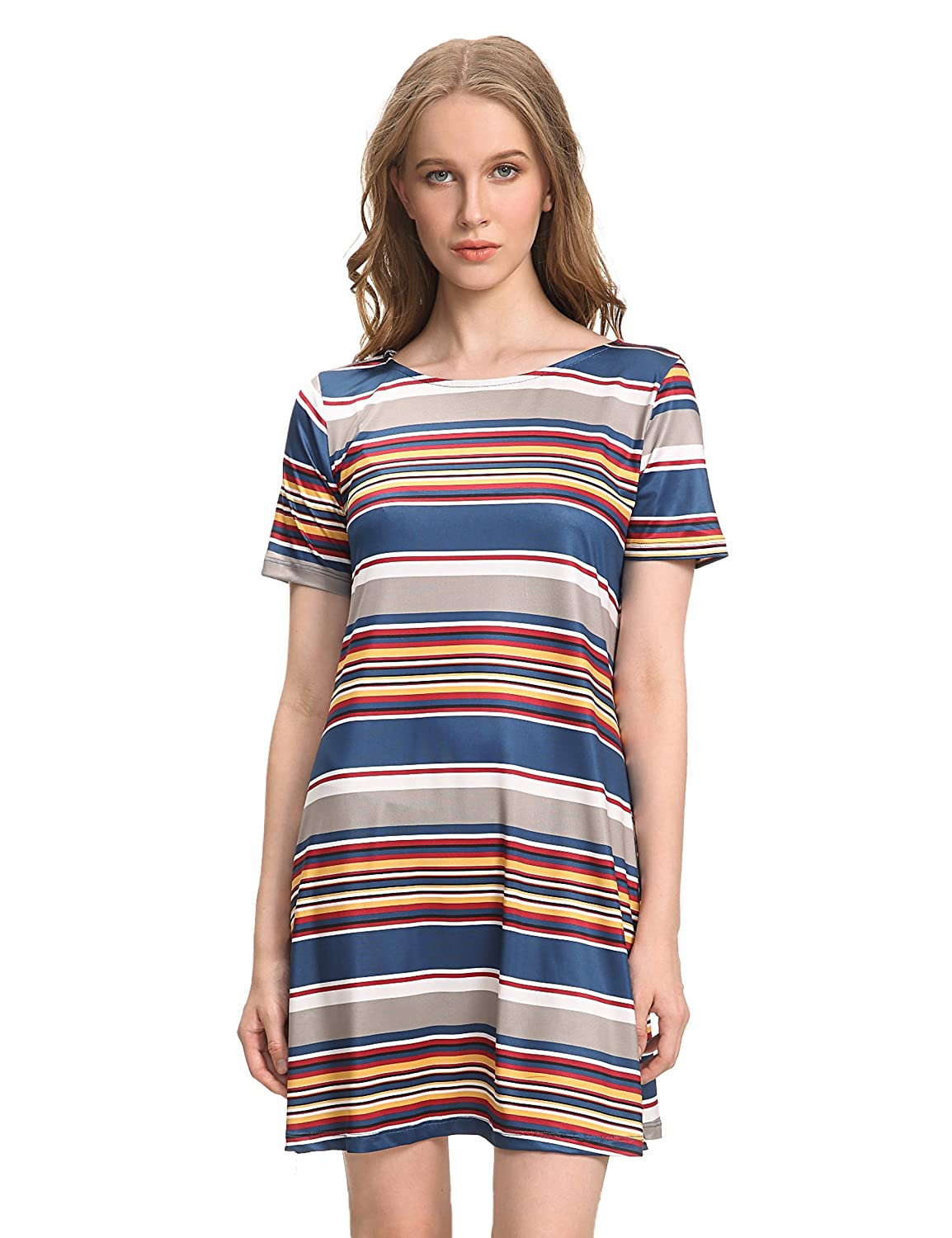 f38a21c69e47 OEUVRE Women's Tunic Stripe Pattern Jersey Knee Length Shift Casual Dress  at Amazon Women's Clothing store: