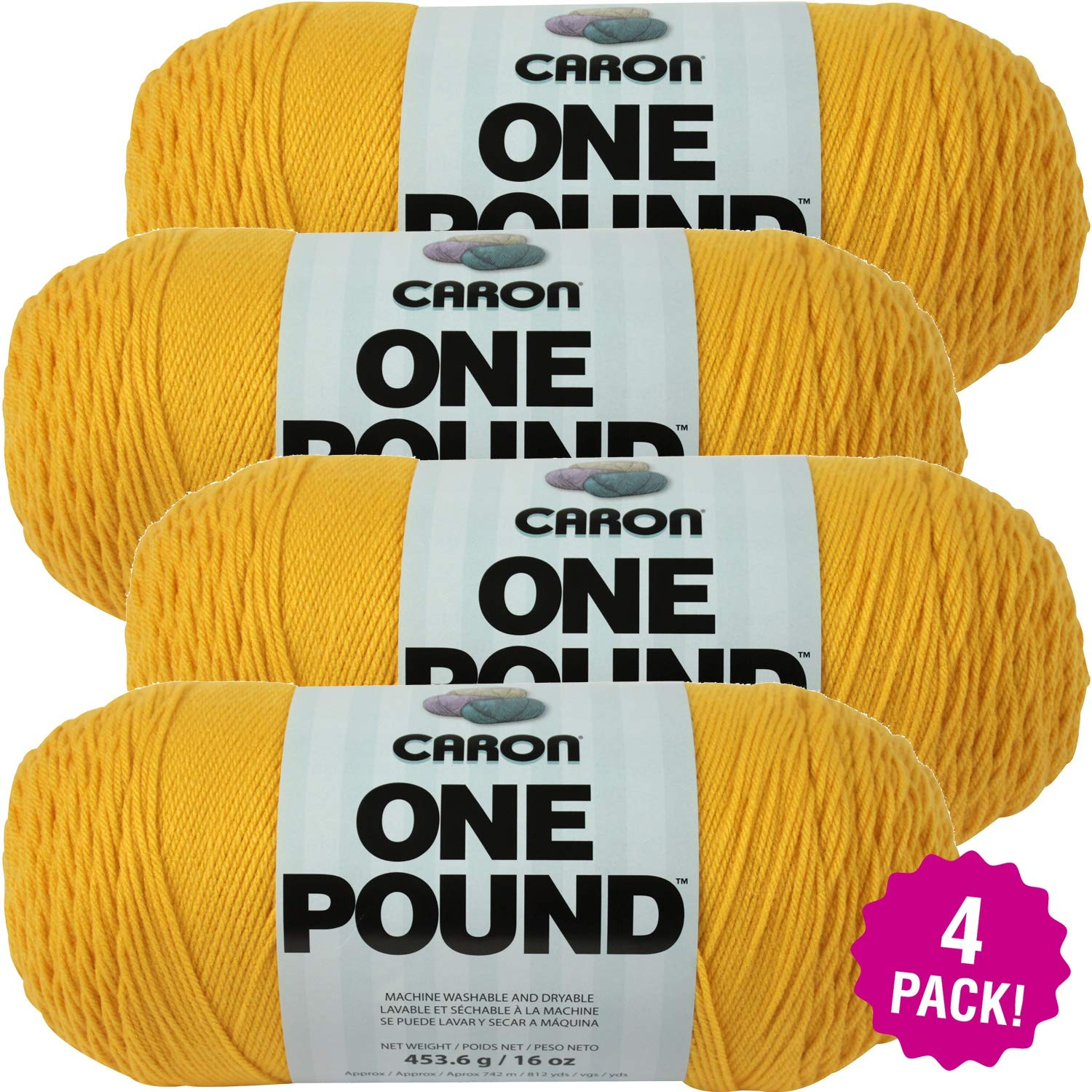 Caron 99609 One Pound Yarn-Sunflower, Multipack of 4, Pack