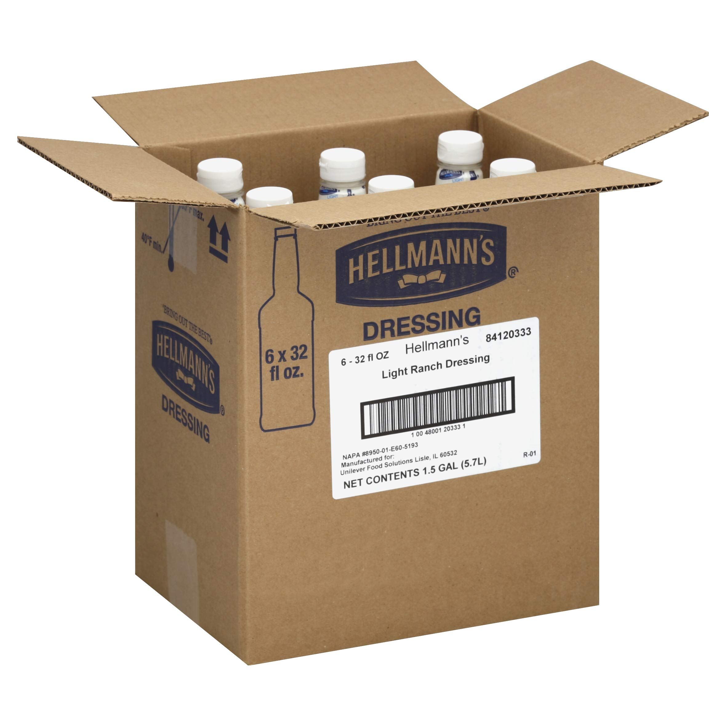 Hellmanns Blue Ribbon Collection Light Ranch Dressing, 32 Ounce - 6 per case.