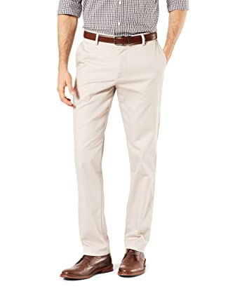 f3acb357799be4 Dockers Men's Slim Fit Signature Khaki Lux Cotton Stretch Pants, Cloud, 28W  x 28L