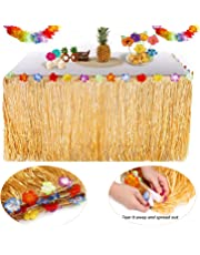 YQing Hawaiian Luau Table Skirt - 9.6ft Hawaiian Luau Hibiscus Grass Table Skirt with 26 Faux Silk Flowers for BBQ Tropical Garden Beach Summer Tiki Party Decorations (TableSkirt(Gold))
