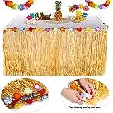 YQing hawaïenne Luau Table jupe - 9.6ft Hawaiian Luau Hibiscus herbe jupe de table avec 26 fleurs en soie Faux pour BBQ Tropical Garden Beach Summer Tiki décorations de fête