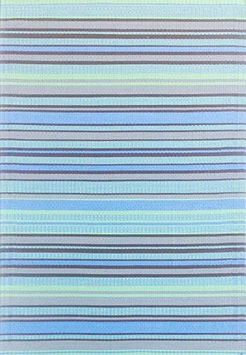 Mad Mats Stripes Indoor Outdoor Floor Mat, 5 by 8-Feet, Grey Aqua