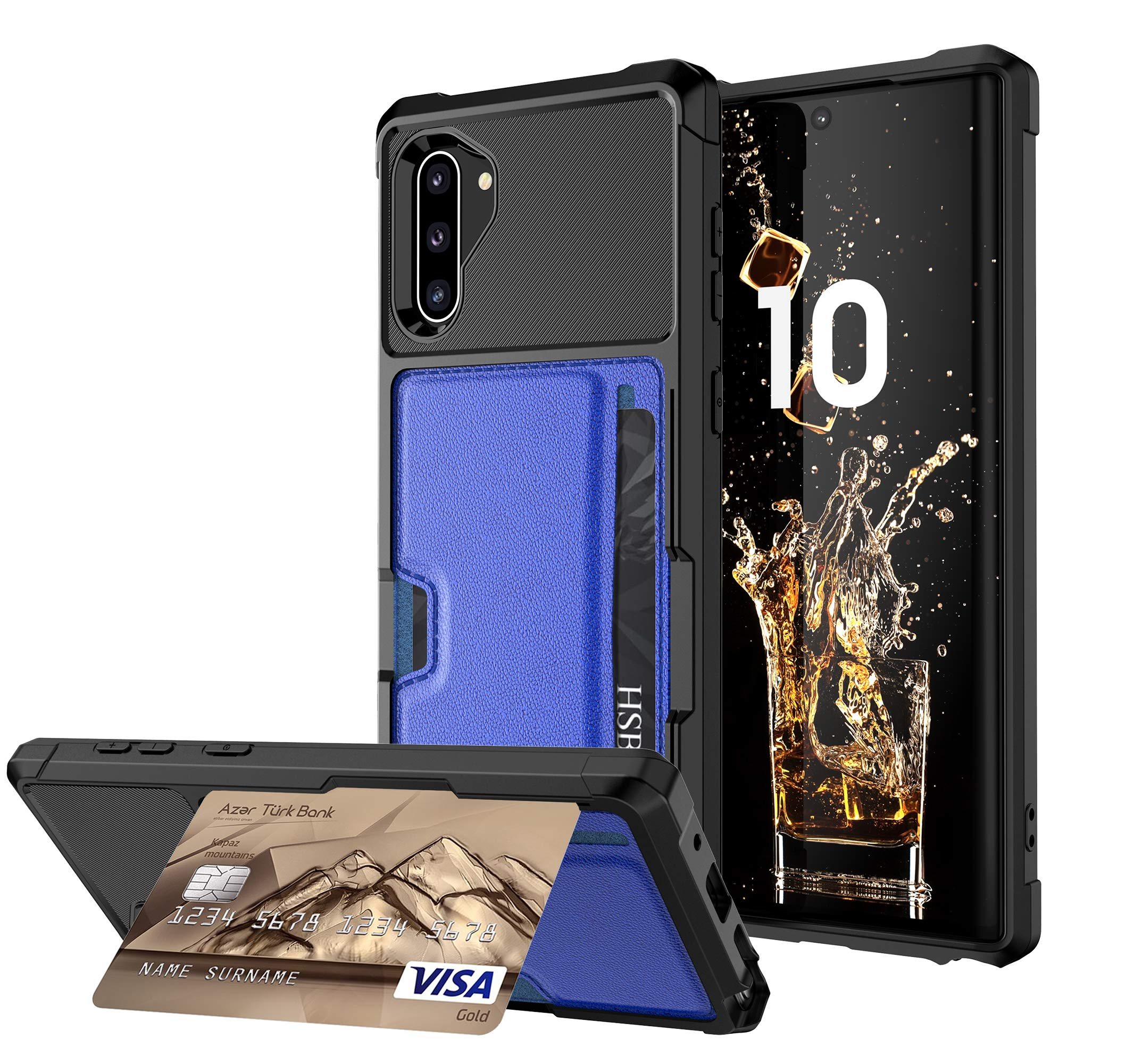 DAMONDY for Note 10 Case,Leather Wallet Purse Card Holders Design Kickstand Cover Soft Shockproof Bumper Metal Plate Build-in Magnetic Car-Mount Function Case for Samsung Note 10 2019-blue by DAMONDY