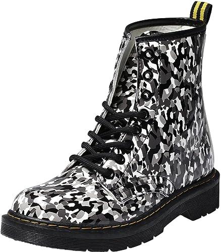 cdc7866095b6f2 Damen Mädchen Stiefel Schnürstiefel Winterstiefel gefüttert Stiefeletten  Wasserdicht PU Leder Boots Schuhe Muster Print 40