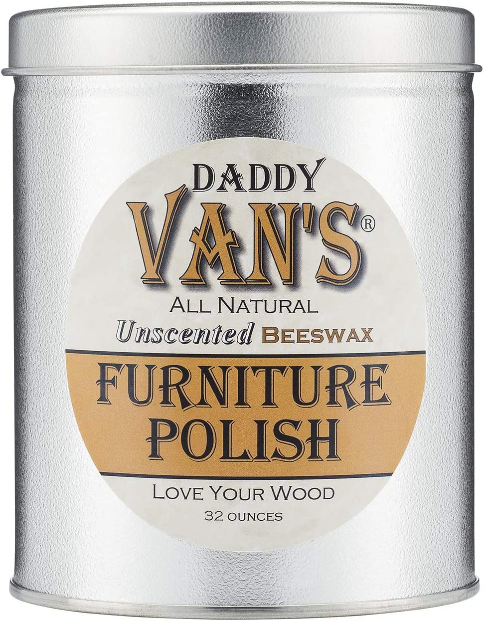Daddy Van's All Natural Unscented Beeswax Furniture Polish - 32 Ounce Economy Size