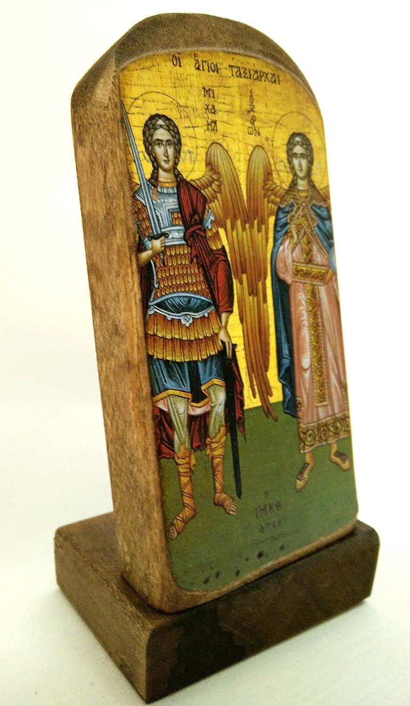 greca cristiano ortodossa Icona di Arcangelo Michele e Arcangelo Gabriel in legno MP5 fatto a mano