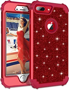 Lontect Compatible iPhone 8 Plus Case Luxury Glitter Sparkle Bling Heavy Duty Hybrid Sturdy Armor High Impact Shockproof Protective Cover Case for Apple iPhone 8 Plus/iPhone 7 Plus - Red