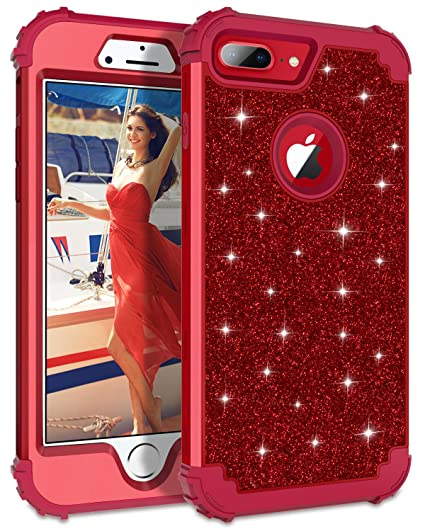 wholesale dealer f37a5 8e9d3 Lontect Compatible iPhone 8 Plus Case Luxury Glitter Sparkle Bling Heavy  Duty Hybrid Sturdy Armor High Impact Shockproof Protective Cover Case for  ...