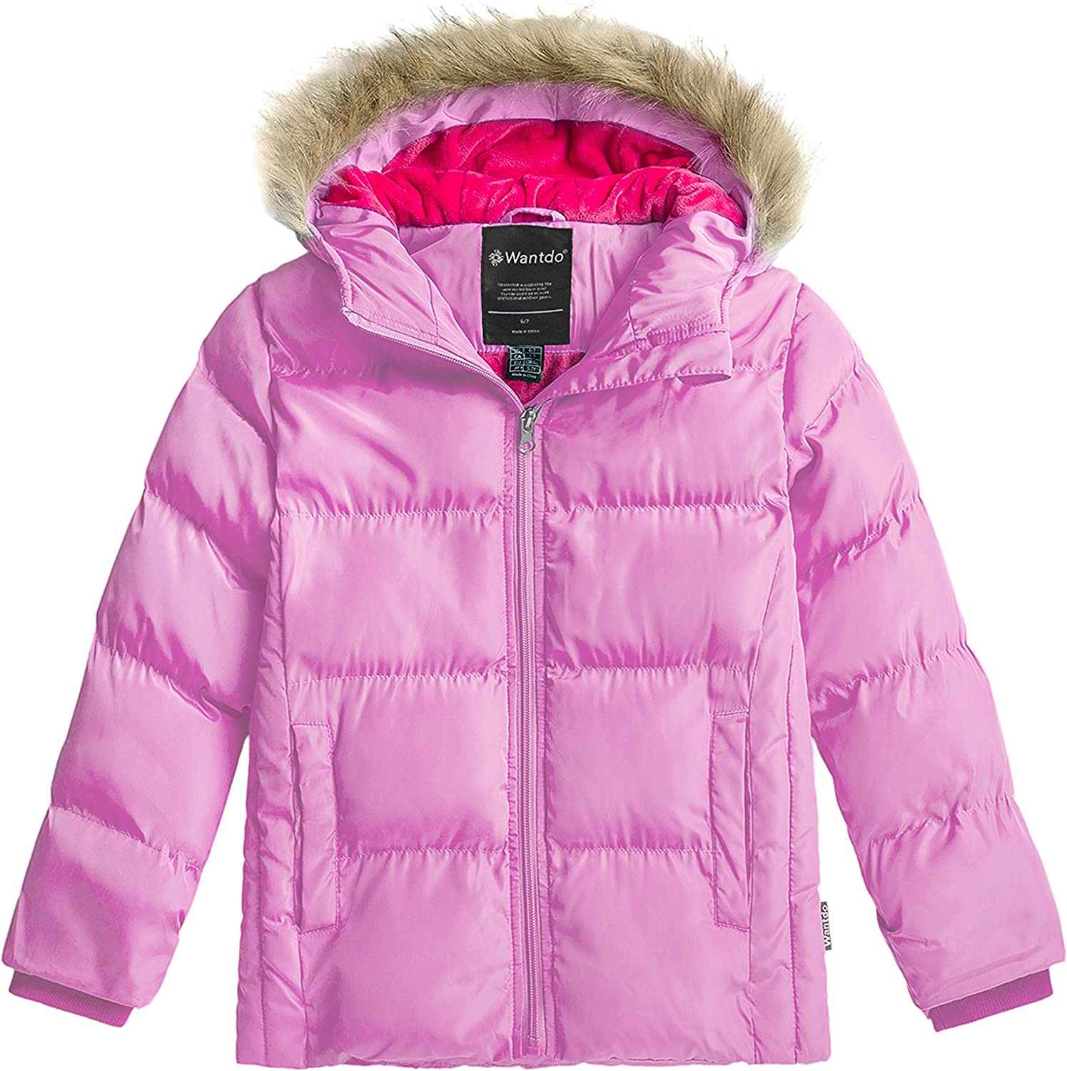 Wantdo Girl's Water-Resistant Winter Coat Warm Insulated Padded Puffer Jacket with Hood: Clothing