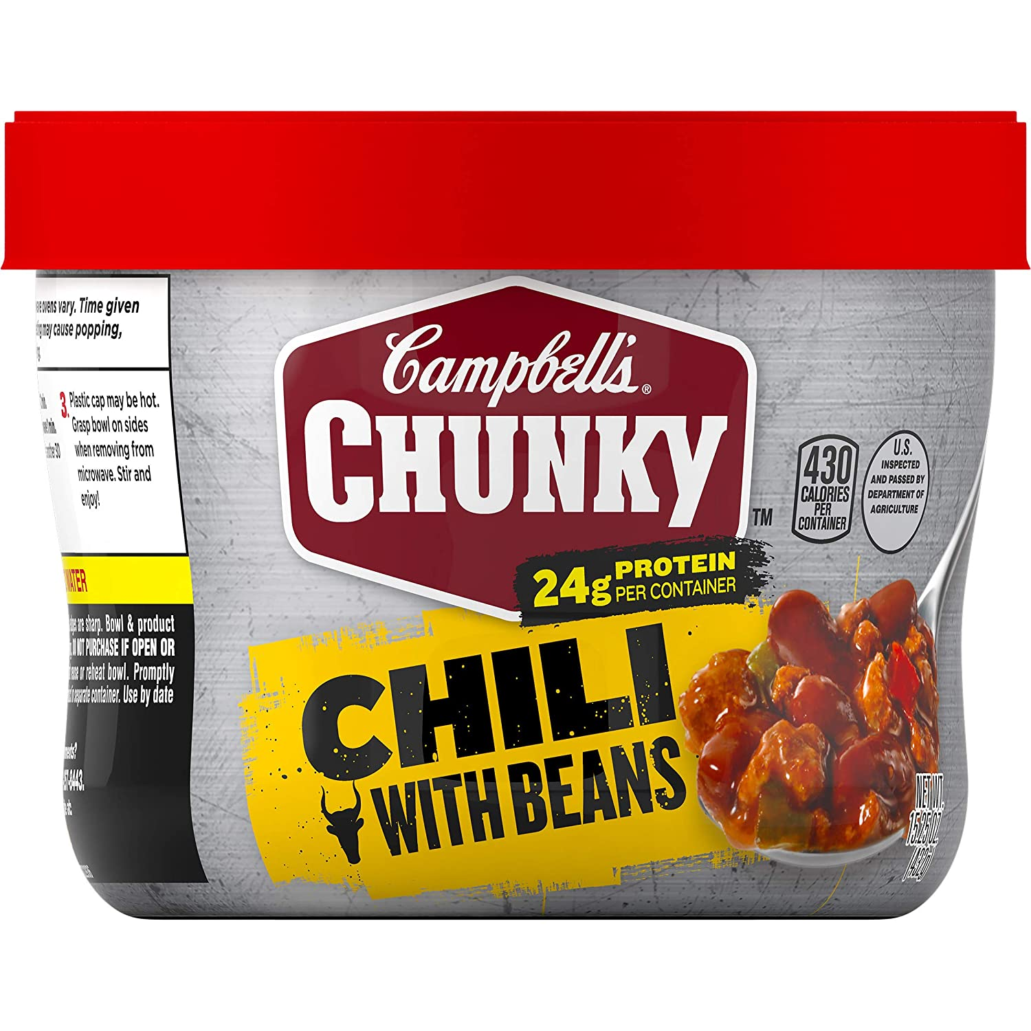 Campbell's ChunkyChili with Beans, 15.25 oz. Microwavable Bowl (Pack of 8)