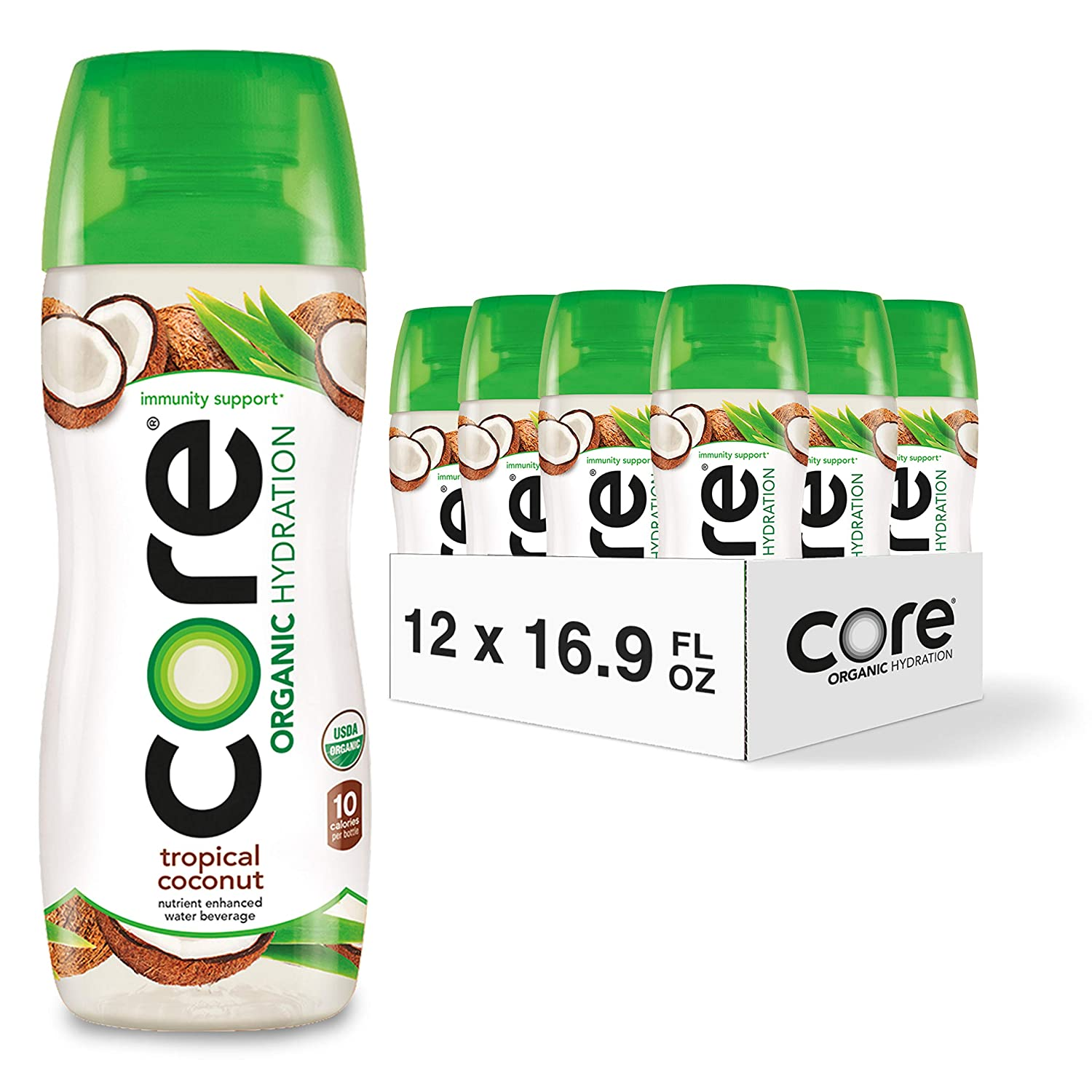 CORE Organic Hydration, Tropical Coconut, 16.9 Fl Oz (Pack of 12), Nutrient Enhanced Flavored Water with Immunity Support from Zinc, USDA Certified Organic