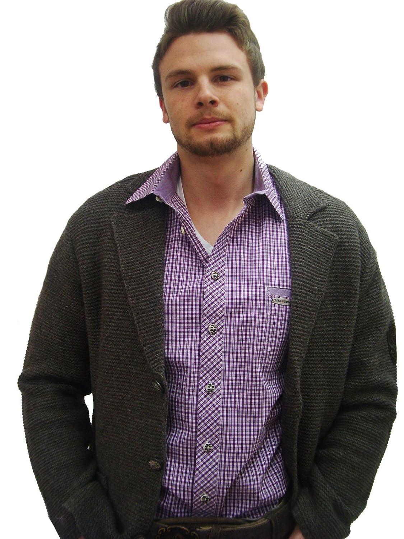 Klassisches Herren Trachtenhemd violett weiß kariertes Herrenhemd Edwin Langarm lila