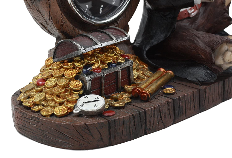Ebros Drunken Pirate Captain Sparrow With His Rum Skeleton Analog Table Clock Figurine Pirate Rum OClock Time Decorative Sculpture