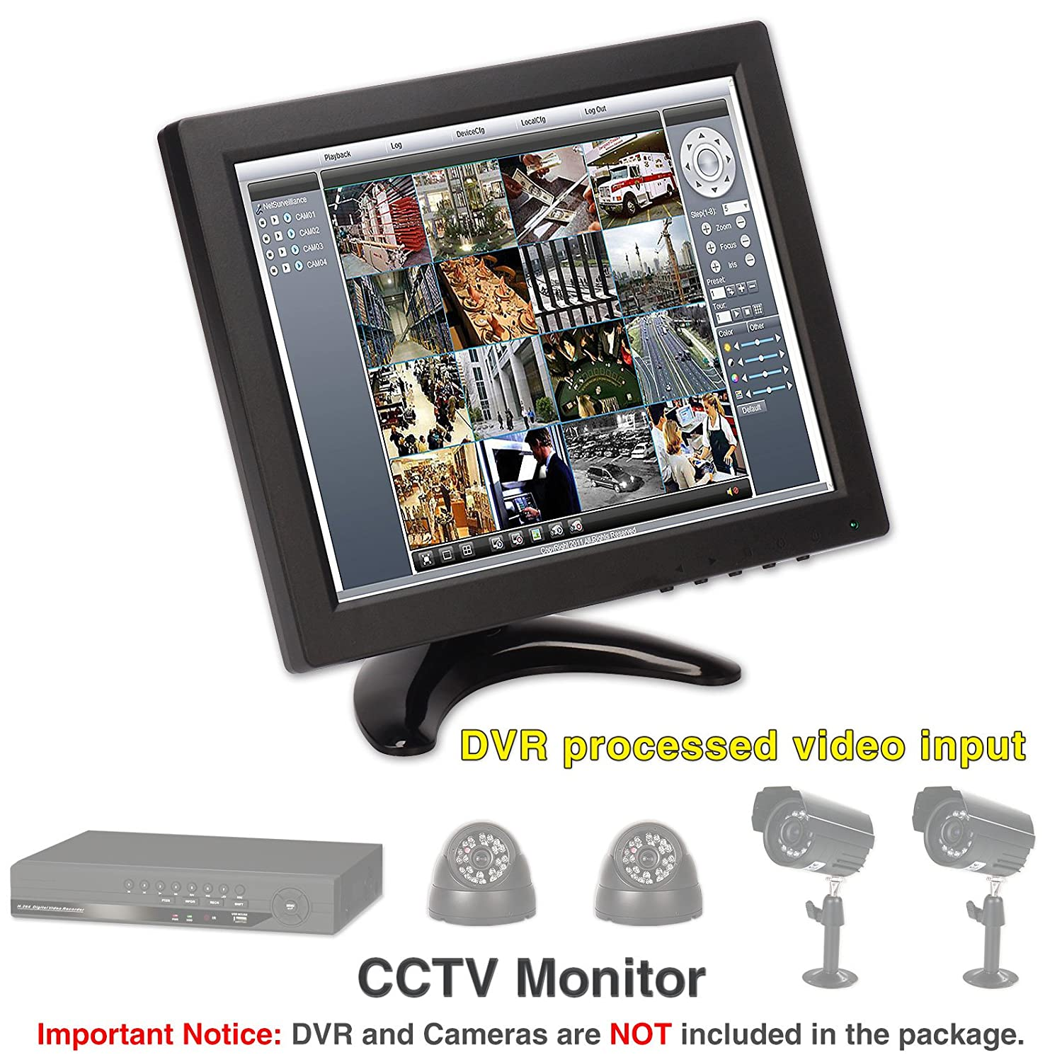 "Amazon ZNC 10"" inch LCD Color Monitor Screen HDMI Video for PC CCTV Camera Security System puters & Accessories"