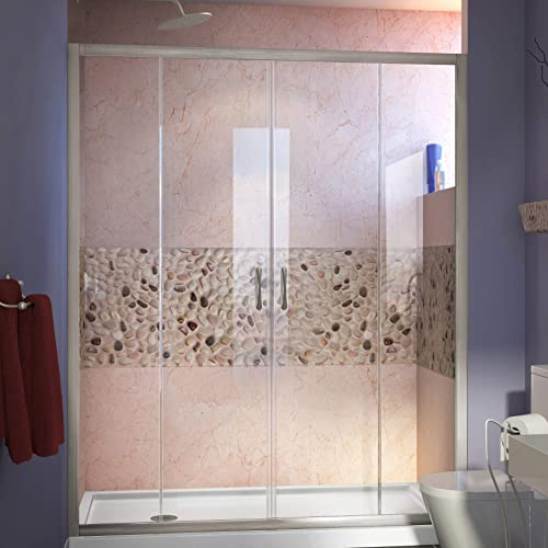 DreamLine Visions 30 in. D x 60 in. W x 74 3 4 in. H Sliding Shower Door in Brushed Nickel with Left Drain White Shower Base, DL-6960L-04CL
