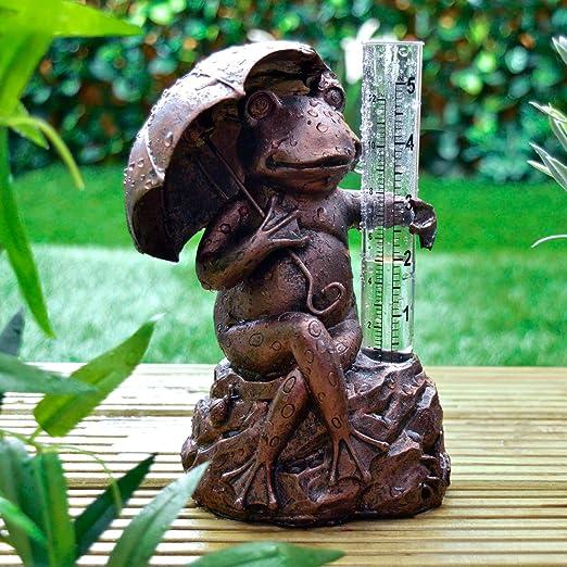 Medidor de lluvia de rana con efecto de bronce para el jardín y exteriores: Amazon.es: Jardín