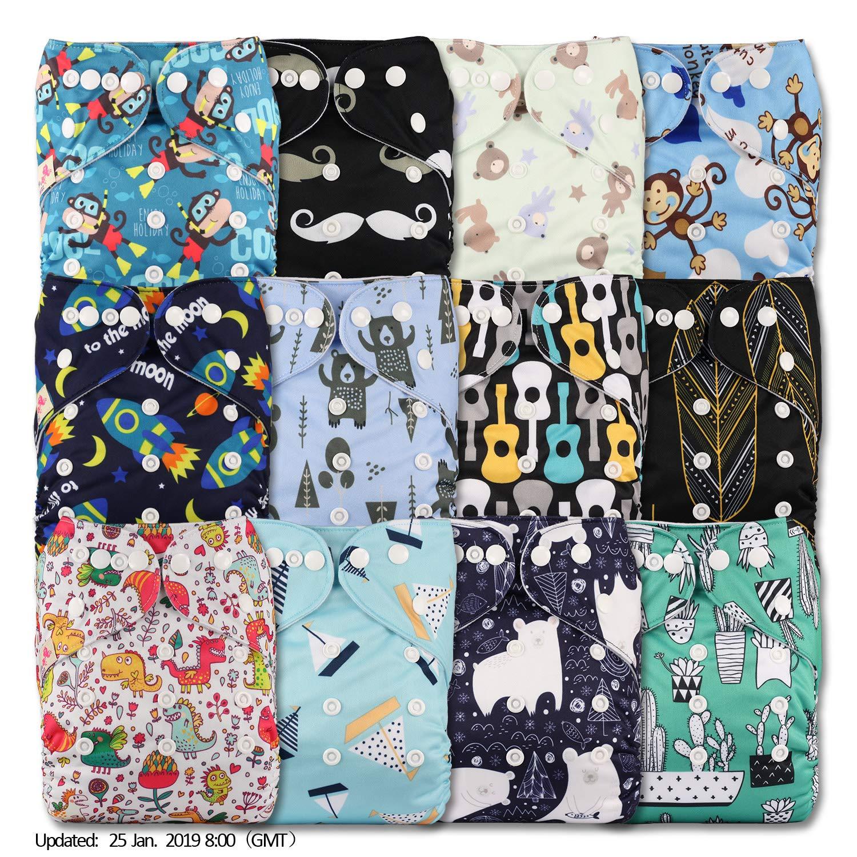 LittleBloom Lot de 12 couches r/éutilisables en tissu Fermeture /à bouton-pression