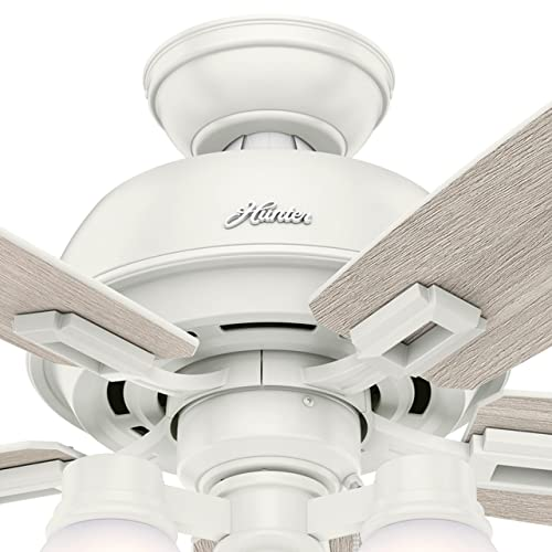 Hunter Fan 52 inch Fresh White Ceiling Fan with LED Light Renewed