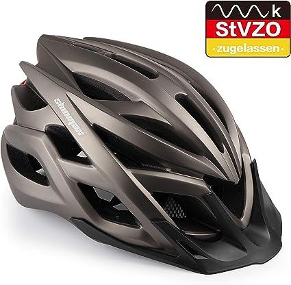 Shinmax Casco de Bicicleta, Casco de MTB con Visera Desmontable, montaña con luz de Advertencia LED, Casco de Ciclismo BMX equitación Casco Bici Hombres y Mujeres Adultos CE, Certificado Stvzo: Amazon.es: Deportes