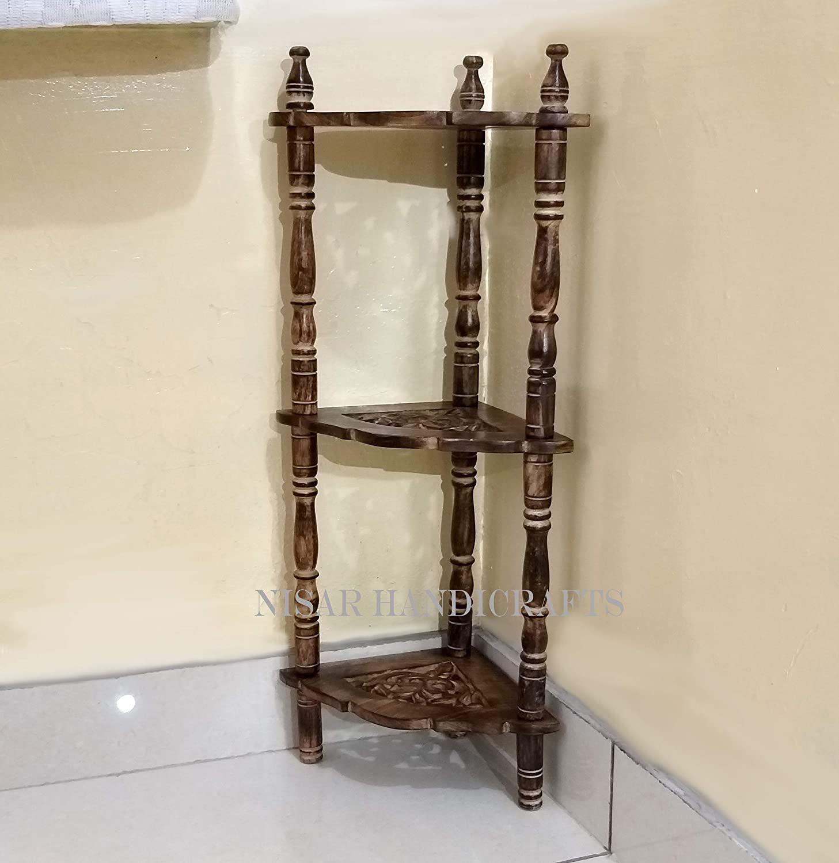 Nisar Handicrafts Mini Wooden Corner Rack Living Room Side Table Home Decor Furniture Amazon In Electronics