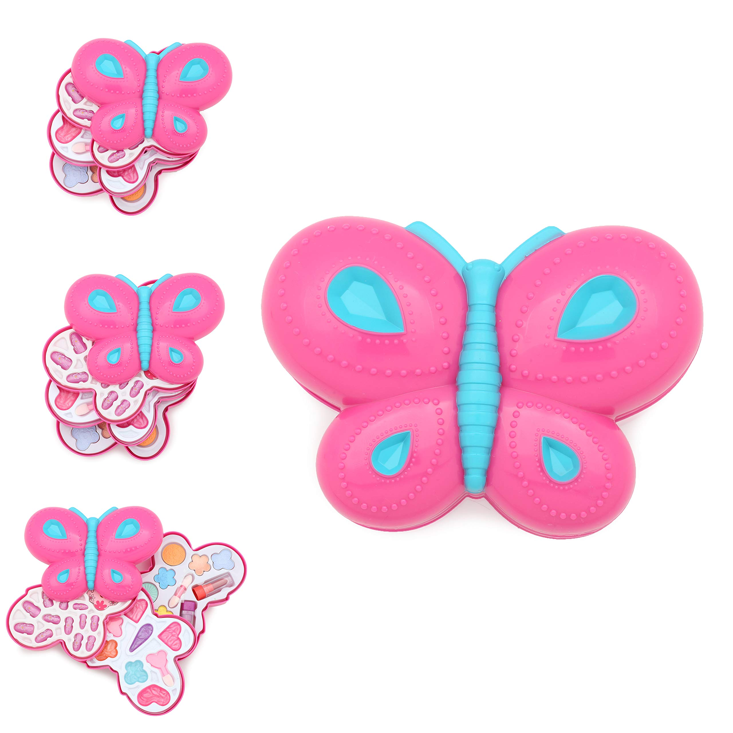 KreativeKraft Kids Make Up Set Children Makeup for Girls Fancy Dress Accessory Beauty Case Butterfly