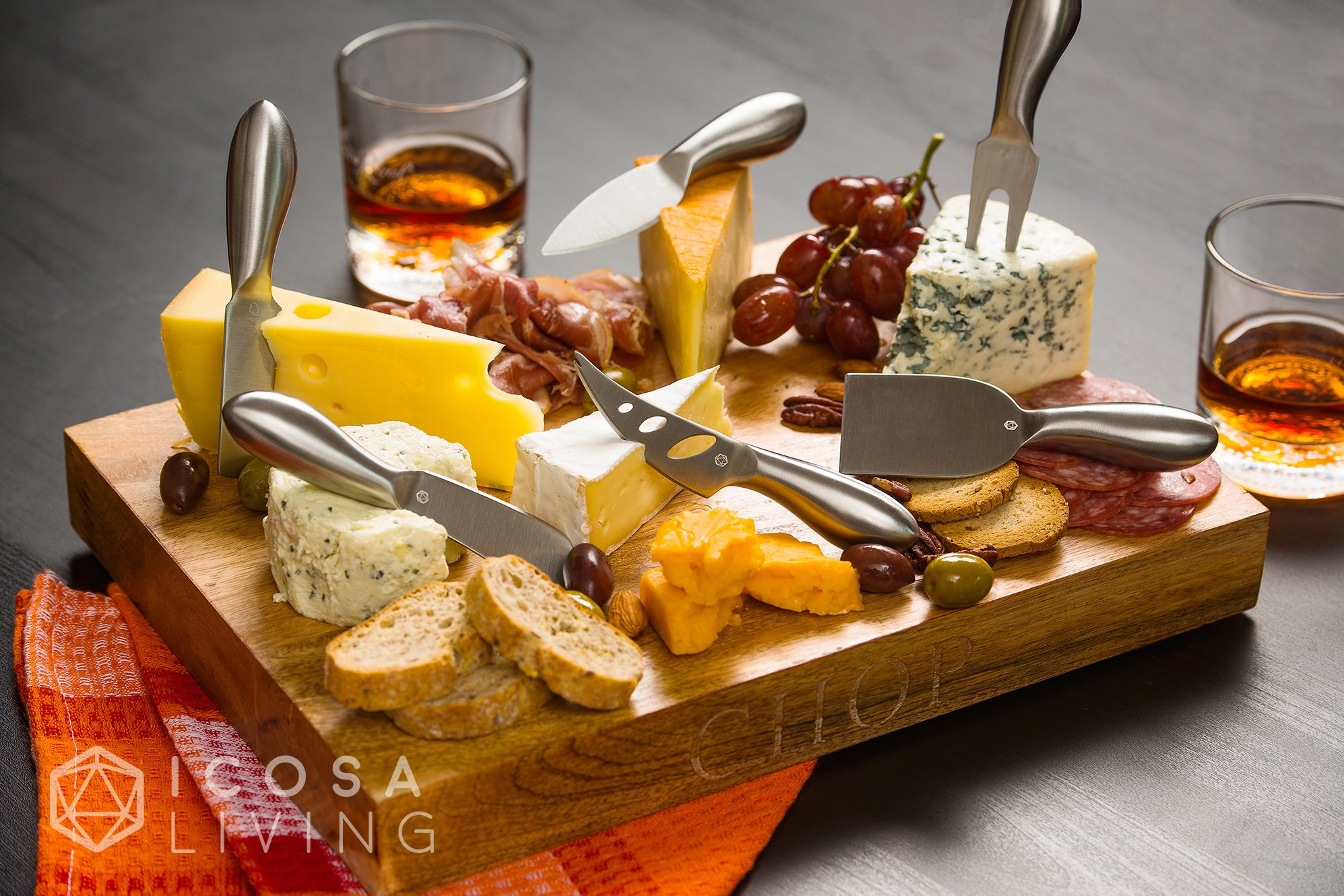 LUNAR Premium 6-Piece Cheese Knife Set - Complete Stainless Steel Cheese Knives Collection by ICOSA Living (Image #5)