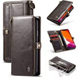 iPhone 11 Wallet Sleeve 6.1'',elecfan All-Round Protection Cover Lightweight TPU+PC Case Magnetic Buckle Shell with Practical Metal Loop Cover Wristband Case for iPhone 11/XIR/11R 6.1'' 2019 - Brown