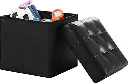 Ornavo Home Foldable Tufted Faux Leather Storage Ottoman Square Cube Foot Rest Stool Seat – 15 x 15 x 15 Black