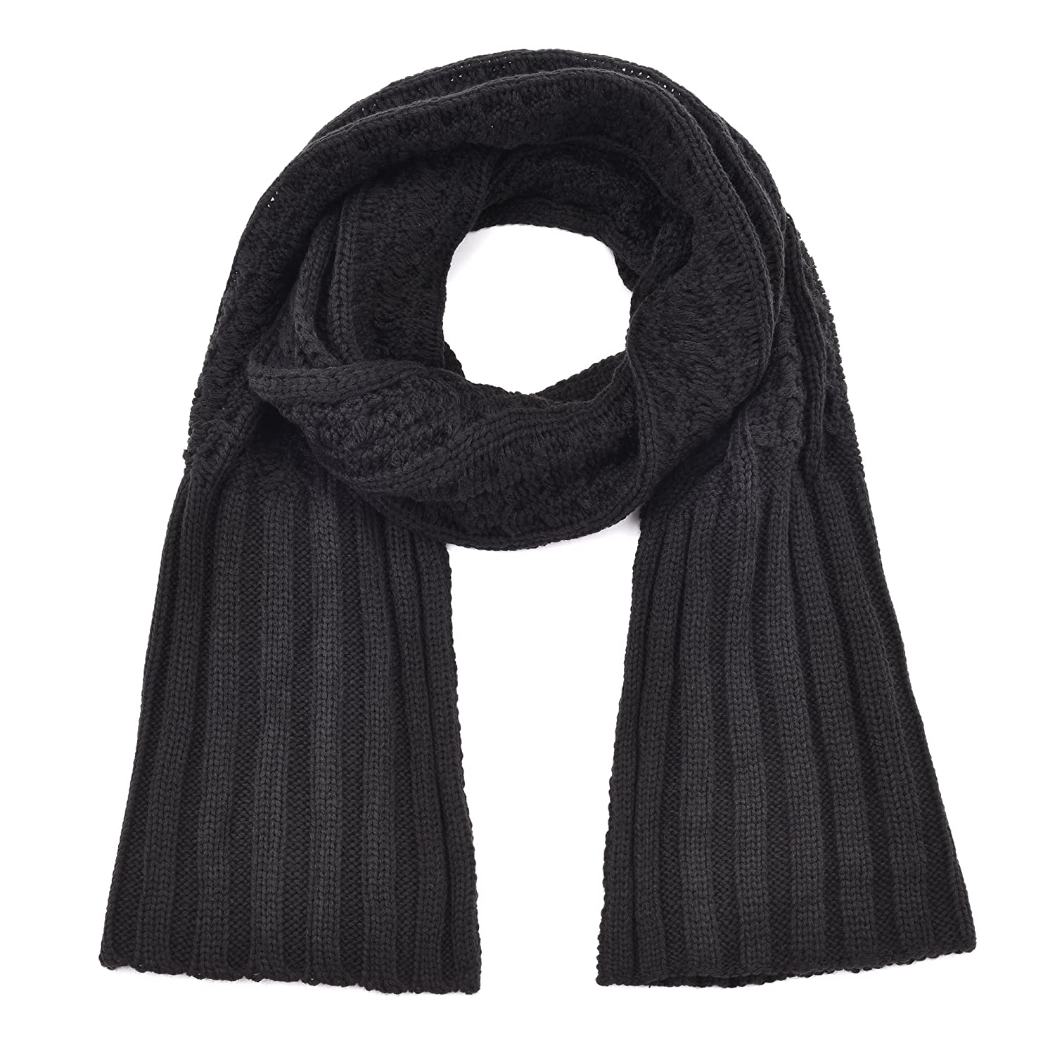 RiscaWin Winter Fashion Women Thick Knitted Shawl Wrap Chunky Warm Long Scarf (Black)