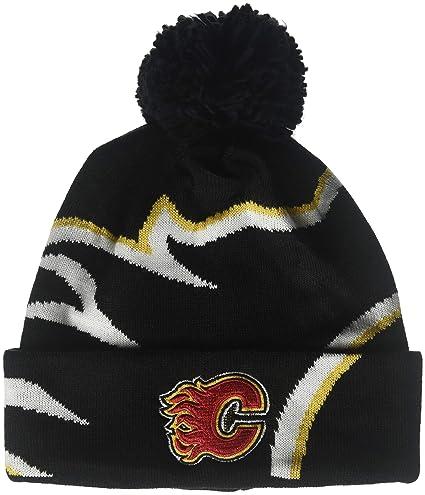 03794d0ec67 Amazon.com   adidas NHL Calgary Flames Cuffed Pom Knit Hat