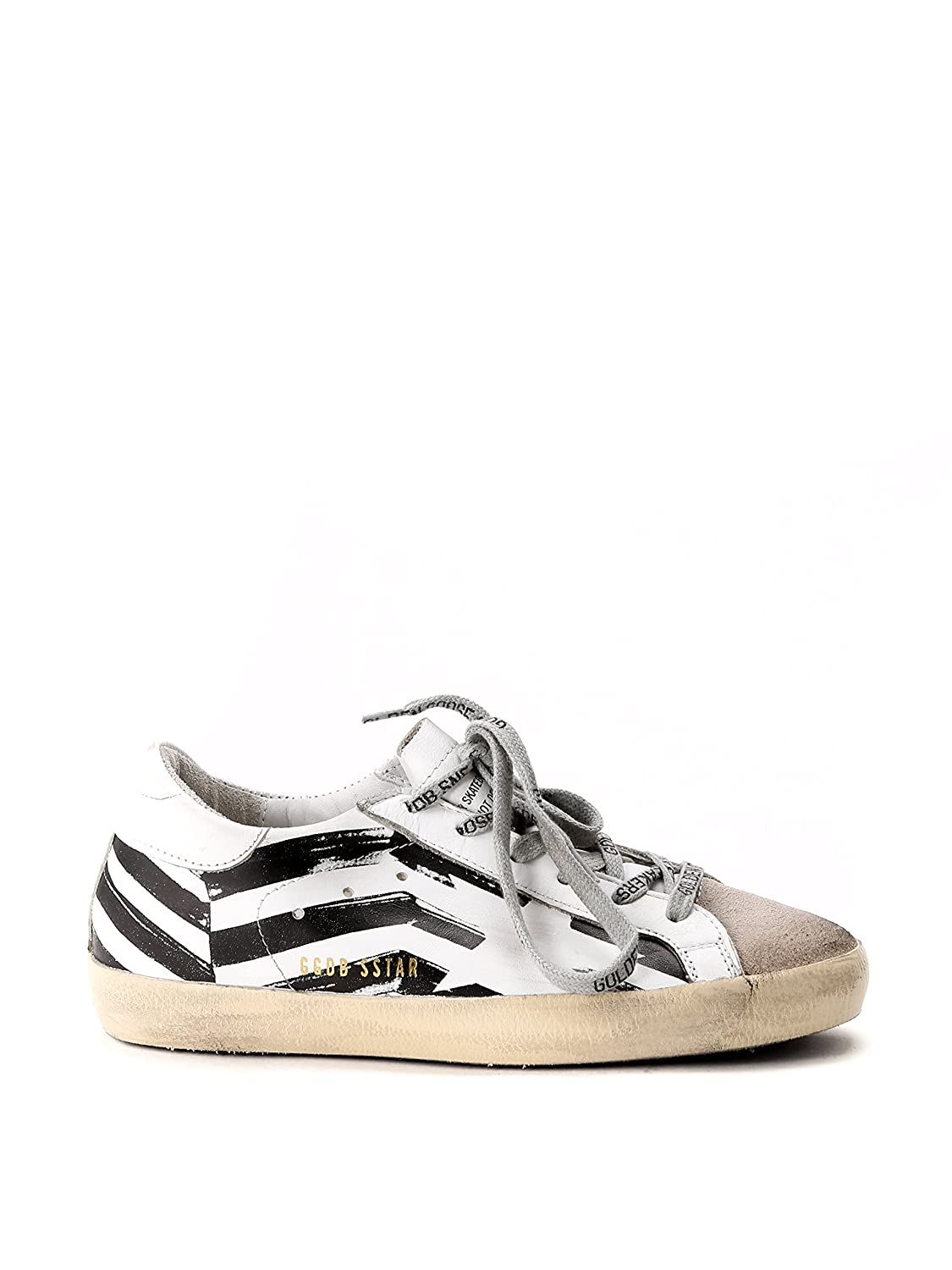 224b15357a23e good GOLDEN GOOSE WOMEN'S GCOWS590K1 WHITE/BLACK LEATHER SNEAKERS ...