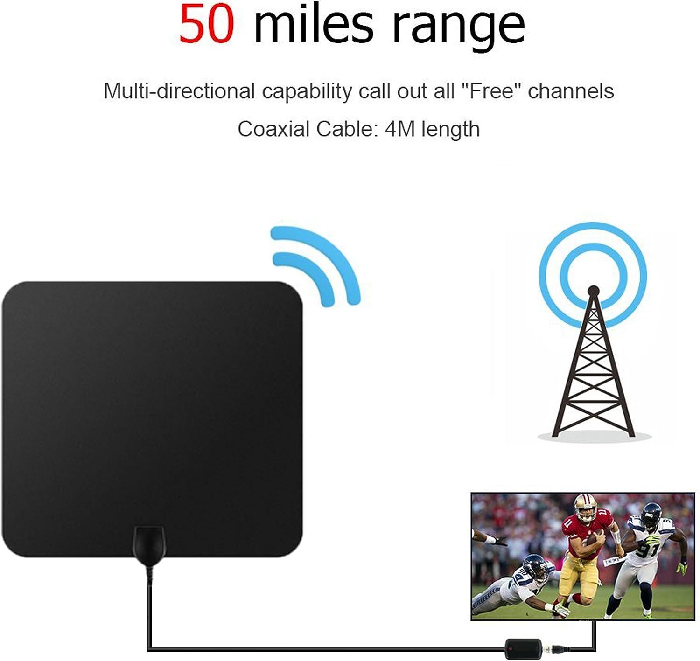 Antena de TV,Antena Digital HDTV Antena Parabolica Portatil Ultra Delgado TDT Interior Cable de TV 50 Millas con Amplificador de Señal y Amplificador Avanzado y Cable Coaxial de 13.2 FT(Negro): Amazon.es: Electrónica