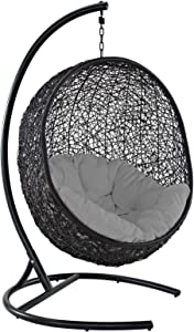 Modway EEI-739-GRY-SET Encase Wicker Rattan Outdoor Patio Porch Lounge Egg, Swing Chair with Stand, Gray