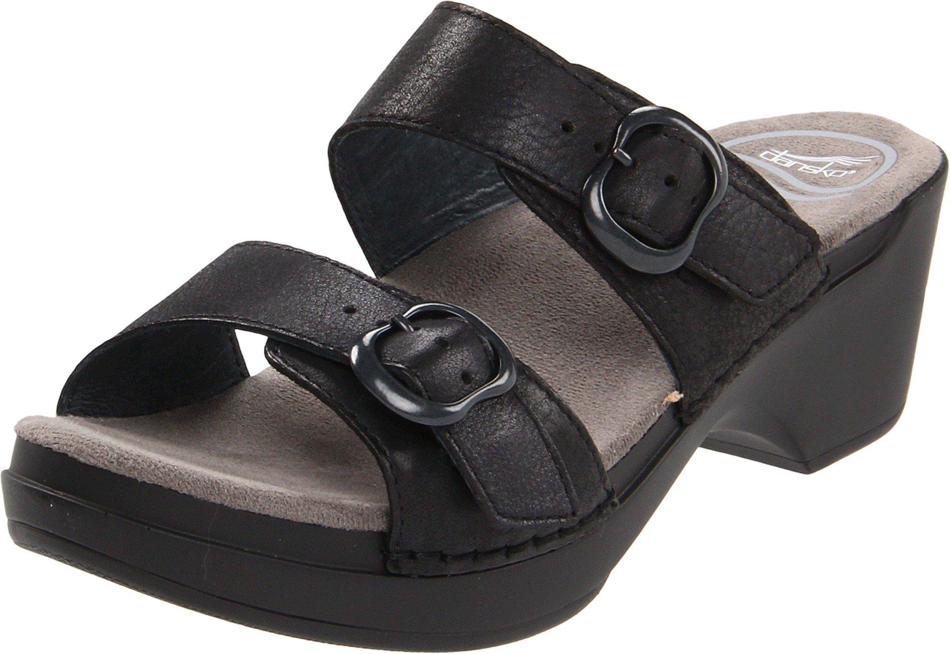 Dansko Women's Sophie Black Soft Full Grain Sandals 37 M