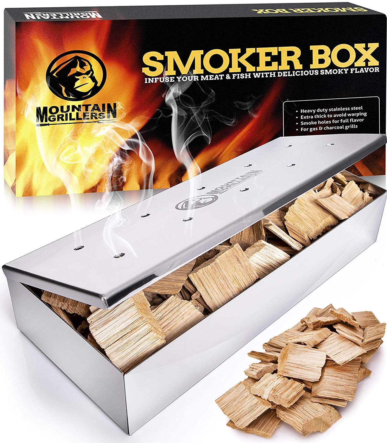 Smoker Box for Wood Chips - Use a Gas or Charcoal BBQ Grill and Still Get That Delicious Smoky Barbecue Flavored Grilled Meat - Hinged Lid for Easy Access (Polished Finish Stainless Steel) by Mountain Grillers