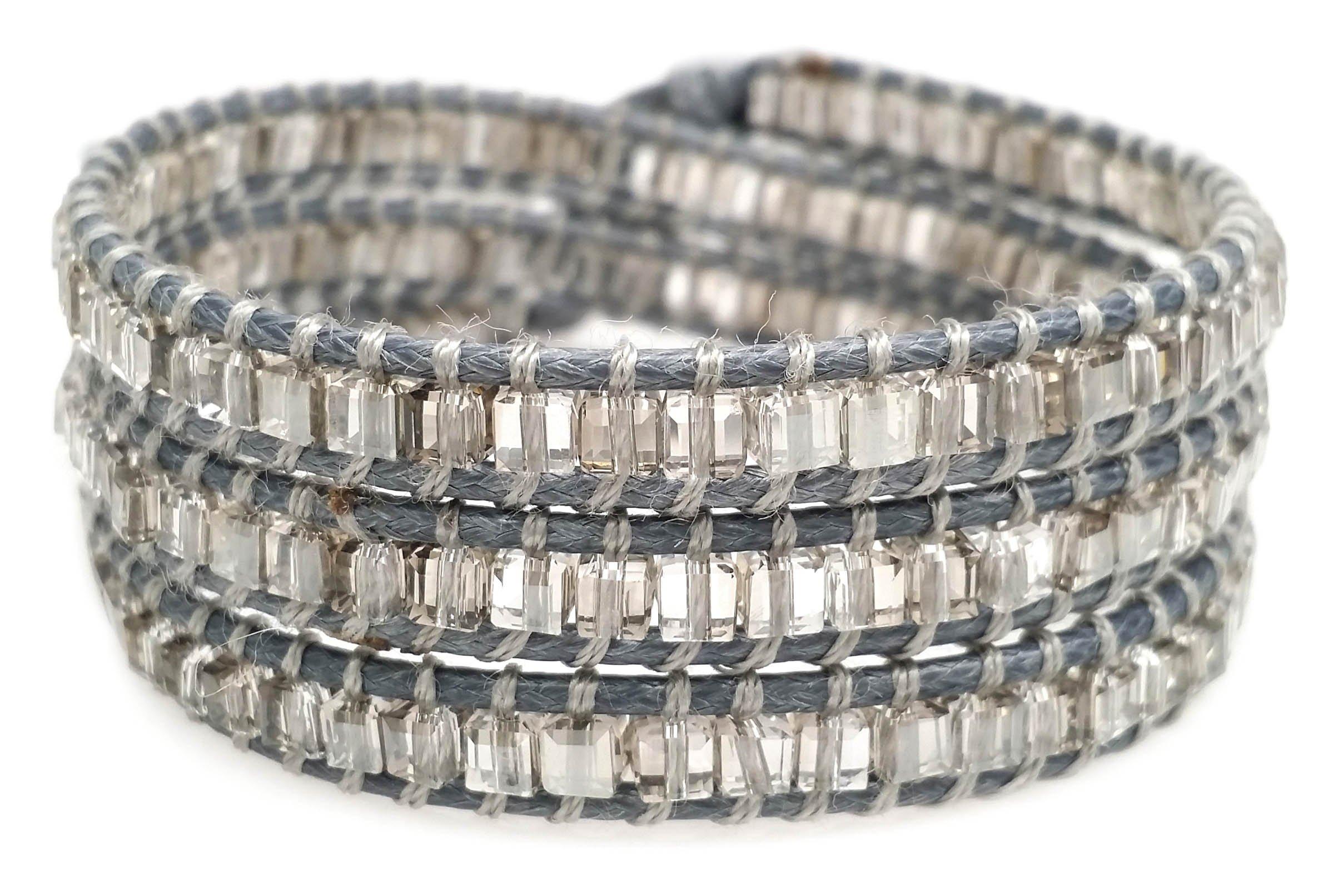 Unisex Beaded Wrap Bracelet, Clear Grey Square Glass Beads, Handmade 3 Wrap