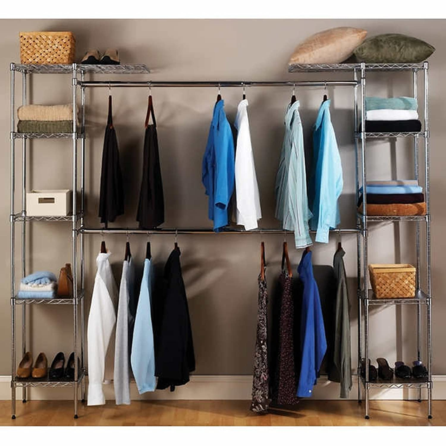 closet seville organizers costco bedroom storage expandable ideas closets with system shelves systems shelf drawers home classics oranization reorganization units organizer wire for