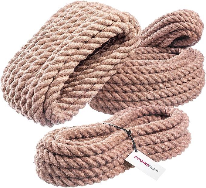 Seilwerk STANKE 50m 14mm Corde de Jute fibres naturelles enroul/ées gr/éement la rambarde de s/écurit/é